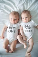 Wholesale newborn baby girl twins for sale - Group buy 1pc Buy One Get One Free New Infant Baby Twins Boys Girls Rompers Newborn Baby Twins Clothes Babe Cotton Funny Print Romper
