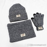 Wholesale blue scarves resale online - New Designers Hats Scarves Gloves Sets Fashion Scarf Gloves Beanie Cold Weather Accessories Cashmere Gift Sets For Men Women s