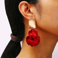 Wholesale red flower earings for sale - Group buy Vintage Plastic Flower Earings Boho Red Petal Pendant Drop Earrings For Women Wedding Pendientes Party Jwelry Gift