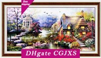 Wholesale stitching kit set for sale - Group buy New Design Diy Handmade Needlework Cross Stitch Set Embroidery Kit Printed Garden Cottage Design Stitching cm Decoration