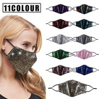 Wholesale Fashion Bling Bling Sequins Protective Mask PM2 Dustproof Mouth Masks Washable Reusable Women Face Mask DHL