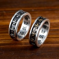 Wholesale men's gold wedding bands for sale - Group buy Fashion Trend Brand Chrom Hearts Retro Cross Band Rings Men s Stainless Steel Hip Hop Rock Male Jewelry Rings Accessories