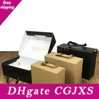 Wholesale black shoes for school for sale - Group buy Environmentally Friendly Kraft Paper Gift Box Black Brown Foldable Carton Packaging Box Suitable For Clothes Shoes Lz1940