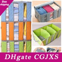 Wholesale organizer clothes bags for sale - Group buy Non Woven Clothing Organizer Bags Bamboo Charcoal Pillow Quilt Folding Bedding Container Box Case Home Closet Storage Bag Kids Hh7