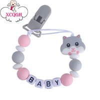 Wholesale hamsters babies for sale - Group buy 1pcs Baby Beads Pacifier Hamster Chain Dummy Strap Leash Clips Chai Holder Customized Name Nipple Silicone Xcqgh Infant Teething yxlpuR