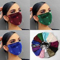 Wholesale Face Mask Fashion Lady Salon BlingBling Paillette Sequin Designer Luxury Mask Washable Reusable Adult Mascarillas Protective Adjustable rope