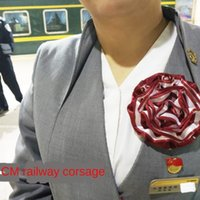 Wholesale red scarf china resale online - USBTz uniform railway corsage accessories China scarf cm flight attendant scarf high speed China railway business wear special rail co NX1wy
