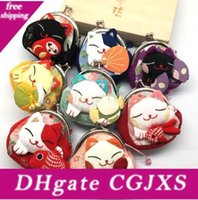 Wholesale cute cat purses for sale - Group buy 2019 Fast Shipping Girls Cute Coin Purse Lucky Cat Mini Wallet Bag Hasp Open Japanese Styel Japan Wind Style Optional