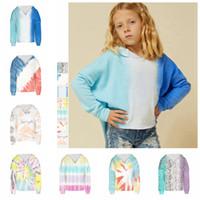 Wholesale spring clothes for teens resale online - Tie Dye Print Sweatshirt Hoodies Casual For Teens Girl Fashion Long Sleeve Winter Streetwear Kid Clothes Hoodie home Clothing FFA4446