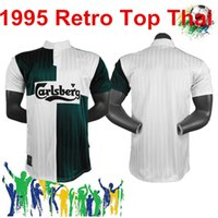 Wholesale soccer wear kits resale online - 1995 retro Adult Soccer green and white topJohn Barnes Ian Rush FI Football training sports Jogging wear man kit polo shir