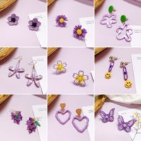 Wholesale online flowers resale online - D55Zj Daisy new online celebrity insS925 silver and earrings needle purple flower earrings for women