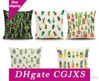 Wholesale lovely pillowcase resale online - Succulents Cactus Pillow Case Linen Cotton Lovely Tropical Green Plant Sofa Cushion Cover Home Decor Pillowcase