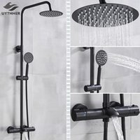 Wholesale chrome thermostatic rain shower set resale online - Faucet Shower Tap Faucet Bathroom Wall Rain Thermostatic Faucet Mixer Mounted Bath Set Shower Shower Bathtub Head Chrome vPuSk yh_pack
