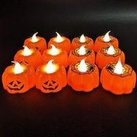 Wholesale ghost night light resale online - Halloween LED pumpkin lantern bar KTV decoration props LED glowing candle light ghost festival supplies night light pumpkin lantern DHC921
