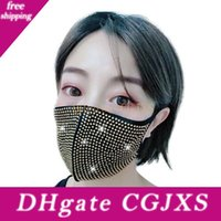 Wholesale face covering veil resale online - Sequin Bling Party Mask Rhinestone Masquerade Crystal Face Veil Decoration Club Mask Bling Bling Gold Glitter Face Dust Cover Party Mask