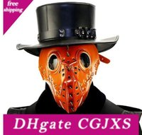 Wholesale leather face hood for sale - Group buy Plague Doctor Steam Punk Mask Pu Leather Cosplay Mask Hood Hallowee Role Play Cole Play Costume