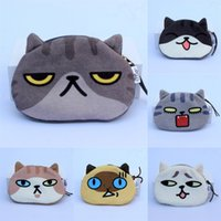 Wholesale cute cat purses for sale - Group buy Cartoon Cartoon personalized creative short plush fabric cat head coin purse face text wallet wallet student cute coin bag