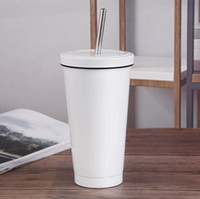 18oz Blank Sublimation Cone Milk Mug White Vacuum Insulation Coffee Tumbler Stainless Steel Straws Simple Portable Travel Cup