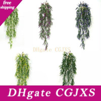 Wholesale green grass home decor for sale - Group buy Hanging Artificial Wheat Grass Fake Green Ivy Artificial Plants Vine Home Wall Garden Wedding Party Decor