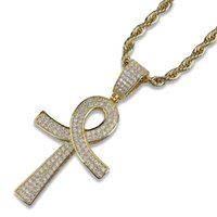 Wholesale key necklace singapore resale online - Mens Gold Silver Necklace Hip Hop Fashion Mens Jewelry Key Pendant Necklaces Iced Out Chain Zircon Punk k Gold Plated Chain Men Gift