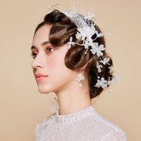 Wholesale lead butterflies resale online - Korean style bridal sweet hairing lead white mesh butterfly gauze simple Accessories wedding dress wedding dress hair accessories wDNPj wDNP