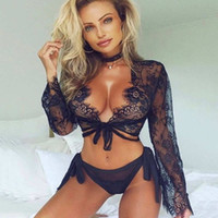 Wholesale see through lingerie for sale - Group buy Hot Sell Deep V Hollow Womens Sexy Lingerie Temptation Girls Long sleeved Lace Smock See through Sexy Women Underwear Panties