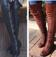 Wholesale zip ride resale online - knee high booties woman cross tied riding boots women shooes chaussures femme ete zip rivets girls sapato feminino