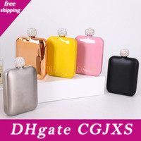 Wholesale mini good resale online - Diamond Hip Flasks Stainless Steel Flagon Wine Pot Alcohol Bottles With Rhinestone Lid Cover Mini Hip Flask Round Wine Pot Flask Good Gift