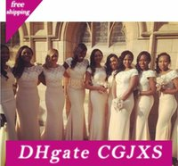 Wholesale traditional mermaid wedding dresses resale online - African Traditional Long Bridesmaid Dresses Jewel Satin Lace Mermaid Maid Of Honor Sweep Train Plus Size Bridal Wedding Party Gowns