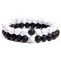 Wholesale onyx turquoise bracelet for sale - Group buy 2pcs set Distance Bracelet Natural Stone Black Onyx Agates Buddha Prayer Yin Yang Beads Bracelet Round Turquoises Couple Jewelry