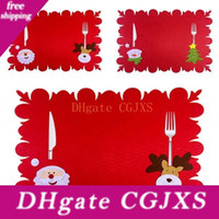 Wholesale pink christmas stockings for sale - Group buy Rectangle Christmas Ornament Place Mats Knife Fork Universal Placemat Fashion Table Pads Creative Fashion Hot Selling yf J1