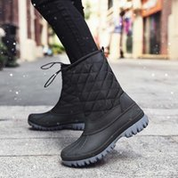 pato botas homens venda por atacado-Sapatos botas de inverno High Top Man Botas Duck Hunting Shoes Inglaterra Homens PU Leather Chaussure Hiver Homme tornozelo