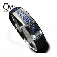 Wholesale tungsten carbide wedding ring sets for sale - Group buy Mens Celtic Rings mm mm Tungsten Carbide Wedding Bands Blue Background Silver Celtic Dragon Inlay with Blue Background Fashion Jewelry