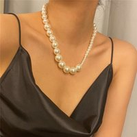 Wholesale beaded chain sizes resale online - 6pcs Asymmetries Size Imitation Pearl Necklaces Ethnic Style Hot Clavicle Chain Women Dress Fashion Gold Beaded Necklace Jewelry