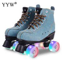 Wholesale roller skates men for sale - Group buy Cowhide Roller Skates Double Line Skates Women Men Adult Roller Blades Two Line Skate Shoes Patines With Pu Wheels Patins