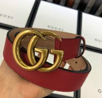 Wholesale red retro clock resale online - Positive red leather G retro old metal buckle female belt Authentic Official Mens Belts For Men Women Belt With Box
