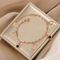 Wholesale gold n resale online - Titanium steel round double layer chain gold bracelet women s Korean style simple personality ins niche design advanced rose gold bracelet N