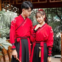 Wholesale couple clothes outfits resale online - Traditional Chinese couple embroidered cross collar skirt clothing Chinese elements martial arts style stage outfit CP Group clothing