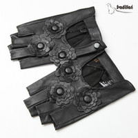 Wholesale fingerless leather gloves fashion resale online - 2020 Hot Fashion Women s Half Finger Gloves Female Genuine Leather Fingerless Driving Mittens Cut Out Street Style Guantes