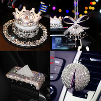 Wholesale Luxury Crystal Car Interior Accessories Steering Wheel Cover Tissue Box Phone Holder Car Styling Air Outlet Perfume Ornaments