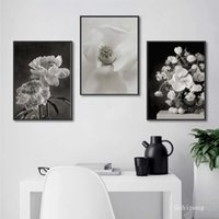 Wholesale black canvas white flower painting for sale - Group buy Nordic Style Canvas Painting Wall Art Poster Black And White Flower Chart Modular Picture For Bedroom Home Decor Prints No Frame