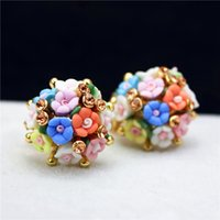 Wholesale jewery for sale - Group buy hot selling brand jewery luxury crystal double imitation stud earrings for women Ceramic flowers earrings for summer55