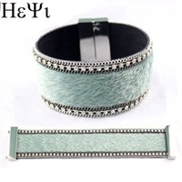 Wholesale korean fashion imports for sale - Group buy 2020 Fashion and High Quality Manual Production Bohemian Style Imported Korean Velvet Leather Inlay Magnet Button Bracelet
