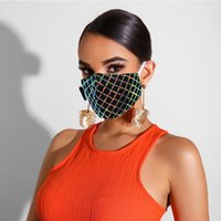 Wholesale black yellow party decorations resale online - Sparkly Blink Jewel Lace Face Mask Fashion Party Women Mask For Decoration Dust Sun Washable Face Mask