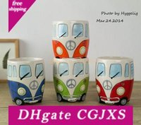 Wholesale green cup coffee resale online - New Camper Van Mug Cartoon Ceramic Cups Puckator Coffer Mugs Gifts For Kids Porcelain Cups For Coffee Christmas Gift Lucky Cup