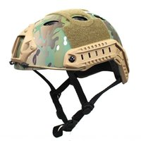 Wholesale tactical fast helmets for sale - Group buy FAST PJ oval hole simple version riding CS helmet fans tactical helmet MC camouflage ACU mgE6J