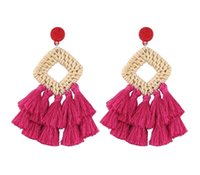 Wholesale huge stud earrings resale online - BK Rope Fabric Knit Tassels Earrings Women Boho Huge Fashion Jewelry Dangle Stud Earring Ear Drop Set Luxury Handmade Jewel88