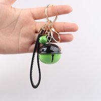 Wholesale car bell resale online - New Double Color Bell Keychain Creative Gift DIY Key Chain Accessories PU Leather Rope Car Bag Pendant zdll0822