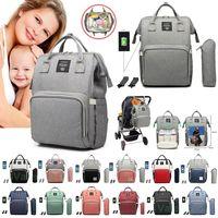 Wholesale strollers bag resale online - Diaper Bag Charging USB Backpack Waterproof Mommy Nappy Bag Large Capacity Travel Backpack Baby Nursing Stroller Bags With Hook DHA816