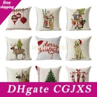 Wholesale merry christmas cars resale online - 18 Designs Merry Christmas Pillow Case Santa Claus Printed Cushion Cover Car Waist Pillowcase Home Decoration Pillow Cover New Year Gift